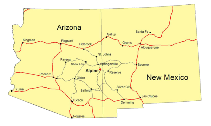 New Mexico Arizona Map