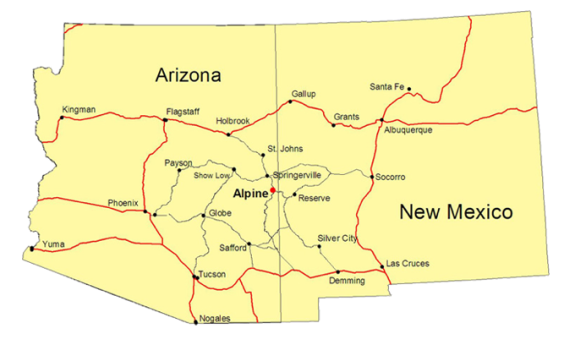 Find Us Blue River Wilderness Retreat - Arizona on the us map